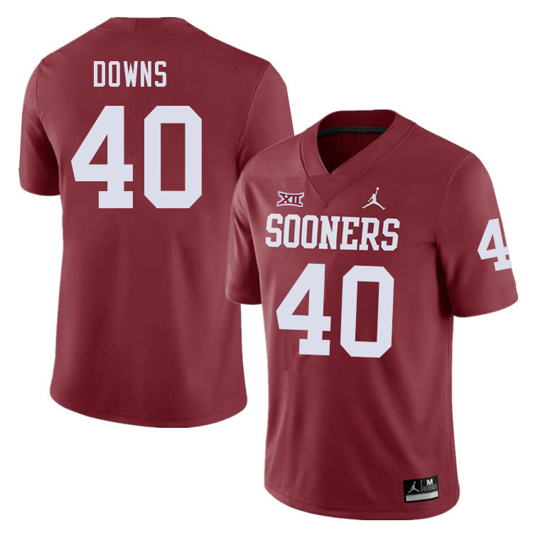 Men #40 Ethan Downs Oklahoma Sooners College Football Jerseys Sale-Crimson